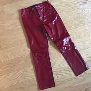 J Brand High Rise Cropped Cigarette Leather Pant